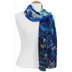 foulard écharpe soie bleu nocturne 1