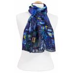 foulard écharpe soie bleu nocturne 3