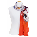 foulard écharpe soie orange lotus 1