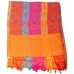étole orange pashmina motifs 5