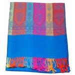 étole bleu foncé pashmina motifs 1