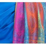 étole bleu foncé pashmina motifs 3