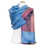 étole bleu gris pashmina motifs 4