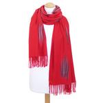 étole rouge cachemire laine plume 3
