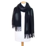 étole noir cachemire laine plume 3