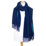étole bleu marine cachemire laine plume 3