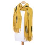 étole jaune moutarde cachemire laine plume 3