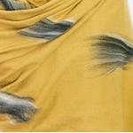 étole jaune moutarde cachemire laine plume 4