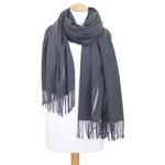 étole grise cachemire laine plume 3