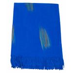 étole bleu vif cachemire laine plume 1