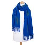 étole bleu vif cachemire laine plume 3