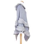 poncho bleu gris fausse fourrure 2