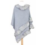 poncho bleu gris fausse fourrure 3