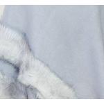 poncho bleu gris fausse fourrure 4