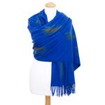 étole bleu vif cachemire laine plume 2