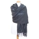 étole grise cachemire laine plume 2
