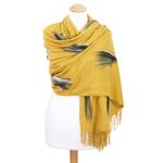 étole jaune moutarde cachemire laine plume 2