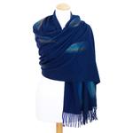 étole bleu marine cachemire laine plume 2