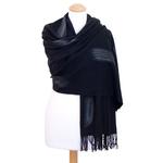 étole noir cachemire laine plume 2