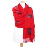 étole rouge cachemire laine plume 2