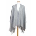 poncho cachemire laine gris 1
