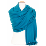 étole bleu canard femme cachemire laine 1