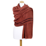 étole femme brique laine fine rayures 2