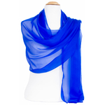 étole femme bleu vif mousseline de soie