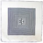 foulard carré en soie écru noir graphique