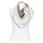 foulard femme en soie graphique noir écru