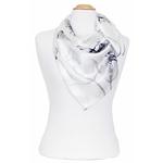 foulard en soie femme carré fleurs noir blanc