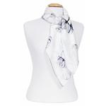 foulard femme en soie carré noir blanc fleuri