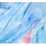 étole bleu soie femme fleurs hotensias