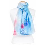 étole soie naturelle femme bleu fleurs hortensias