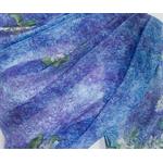 étole femme soie muguet bleu