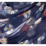 étole soie mousseline bleu marine margurites