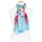 foulard femme soie fleurs bleu lise