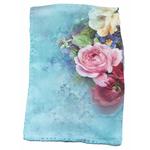 foulard bleu soie femme fleurs lise