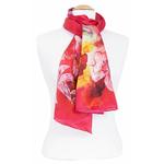 foulard rouge soie femme fleurs de lys