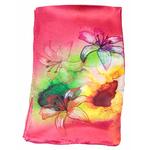 foulard femme soie rouge fleurs de lys