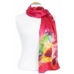 foulard soie femme écharpe rouge fleurs lys