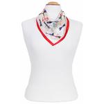 carré en soie foulard rouge femme libellules