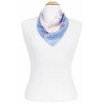 foulard soie femme bleu fleurettes