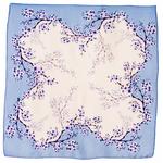 carré soie femme foulard bleu fleurettes