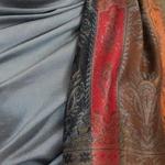 étole femme gris pashmina motifs