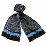 foulard en soie homme noir paisley frise 4