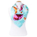 foulard en soie femme carré bleu fleurs