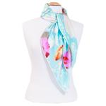 foulard rouge soie carre femme bleu fleurs