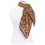 foulard rouge soie carre femme beige panthere