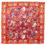 foulard en soie carre de soie rouge chats